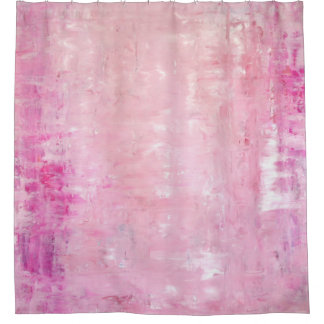 'Elegance' Pink Abstract Art Shower Curtain