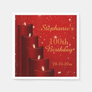 Elegant 100th Birthday Candles With Sparkle Disposable Napkin