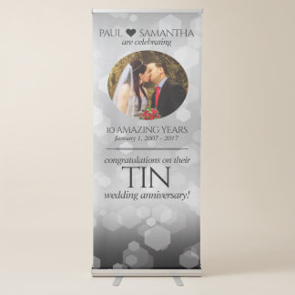 Elegant 10th Tin Wedding Anniversary Celebration Retractable Banner