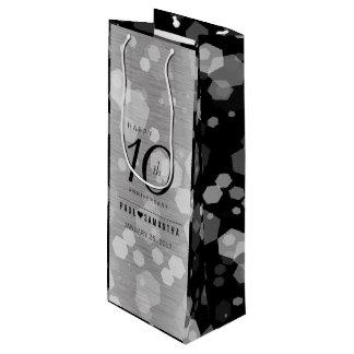 Elegant 10th Tin Wedding Anniversary Celebration Wine Gift Bag