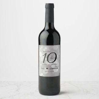 Elegant 10th Tin Wedding Anniversary Celebration Wine Label
