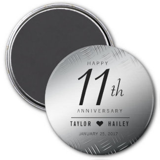 Elegant 11th Steel Wedding Anniversary Celebration 7.5 Cm Round Magnet