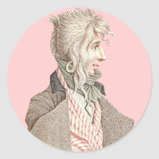 Elegant 18th Century Frenchman With Long Hair Classic Round Sticker