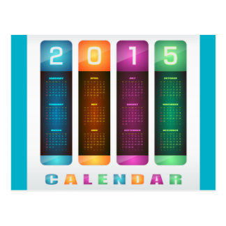 Elegant 2015 Colorful Calendar Postcard