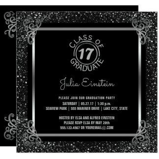 Elegant 2017 Graduation Party Black Silver Glitter Card