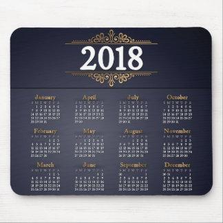 Elegant 2018 Gold and Blue Calendar | Mousepad