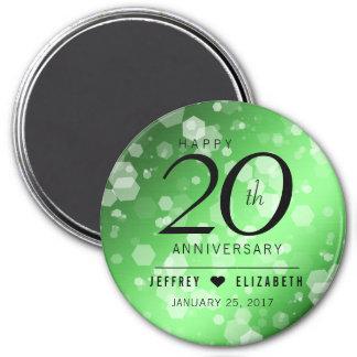 Elegant 20th Emerald Wedding Anniversary 7.5 Cm Round Magnet
