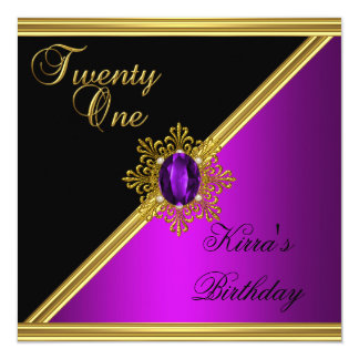 Elegant 21st 21 Birthday Magenta Gem Black Gold Card