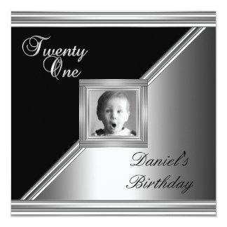 Elegant 21st 21 Birthday Party Black Silver Deco 4 13 Cm X 13 Cm Square Invitation Card