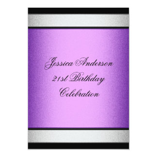 Elegant 21st Birthday Black Purple & Silver Metal Card