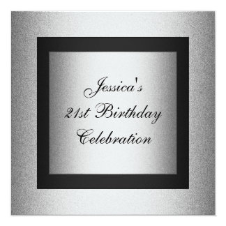 Elegant 21st Birthday Black & Silver Metallic Card