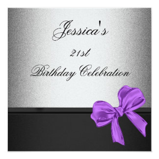 Elegant 21st Birthday Black Silver Purple Bow Card