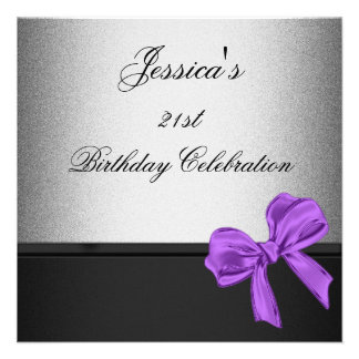 Elegant 21st Birthday Black Silver Purple Bow Personalized Invites