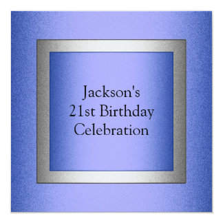 Elegant 21st Birthday Blue & Silver Metallic Card