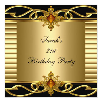 Elegant 21st Birthday Gold Black Art Deco Jewel 13 Cm X 13 Cm Square Invitation Card