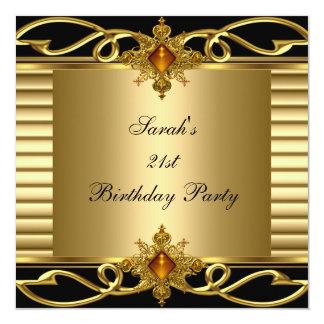 Elegant 21st Birthday Gold Black Art Deco Jewel 13 Cm X 13 Cm Square Invitation Card