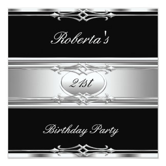 Elegant 21st Birthday Party Black Silver 21 Card