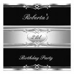 Elegant 21st Birthday Party Black Silver 21 Personalized Invitations