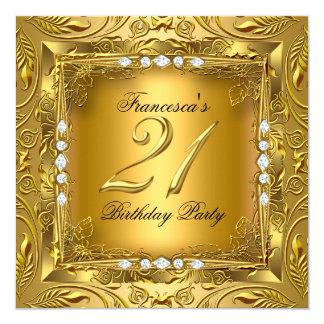 Elegant 21st Birthday Party Elite Gold Diamonds 13 Cm X 13 Cm Square Invitation Card