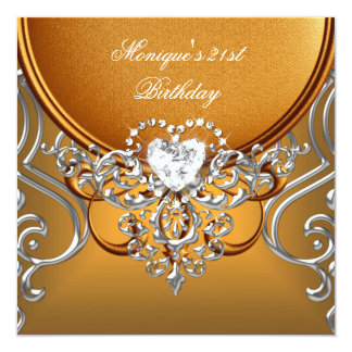 Elegant 21st Birthday Party Gold Silver Diamond 13 Cm X 13 Cm Square Invitation Card