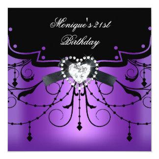 Elegant 21st Birthday Party Purple Black Diamond 13 Cm X 13 Cm Square Invitation Card