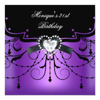 purple st birthday party invitations  announcements  zazzle.au, Birthday invitations