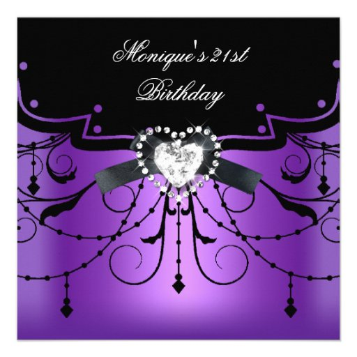 Elegant 21st Birthday Party Purple Black Diamond Invite