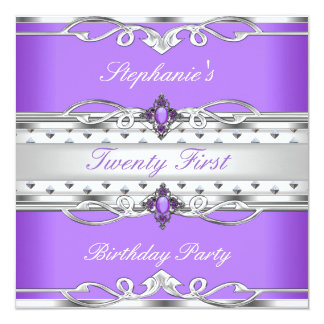 Elegant 21st Birthday Party Purple Silver 21 Card