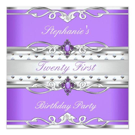 Elegant 21st Birthday Party Purple Silver 21 Card
