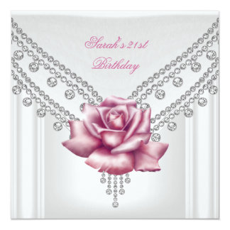 Elegant 21st Birthday Party White Pink Rose 2 13 Cm X 13 Cm Square Invitation Card