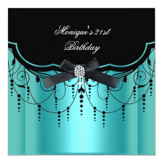 Elegant 21st Birthday Teal Blue Black Diamond 13 Cm X 13 Cm Square Invitation Card