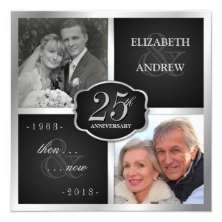 Elegant 25th Anniversary Party Vow Renewal 13 Cm X 13 Cm Square Invitation Card