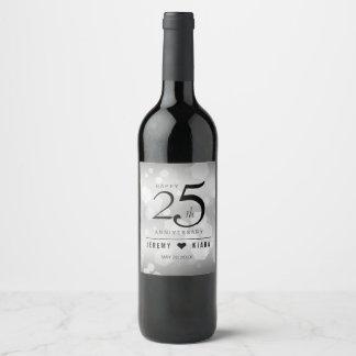 Elegant 25th Silver Wedding Anniversary Wine Label