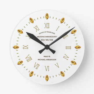 Elegant 30 40 45 50 55 60th Wed Anniversary Custom Round Clock
