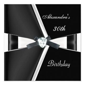 Elegant 30th Birthday Black White Bow 13 Cm X 13 Cm Square Invitation Card