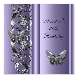 Elegant 30th Birthday Butterfly MauveSilver Floral 13 Cm X 13 Cm Square Invitation Card