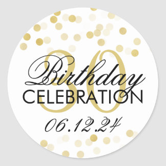 Elegant 30th Birthday Gold Foil Glitter Lights Classic Round Sticker