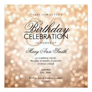 Elegant 30th Birthday Party Copper Glitter Lights 13 Cm X 13 Cm Square Invitation Card