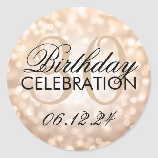 Elegant 30th Birthday Party Copper Glitter Lights Classic Round Sticker