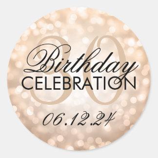Elegant 30th Birthday Party Copper Glitter Lights Round Sticker