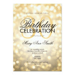 Elegant 30th Birthday Party Gold Glitter Lights 13 Cm X 18 Cm Invitation Card