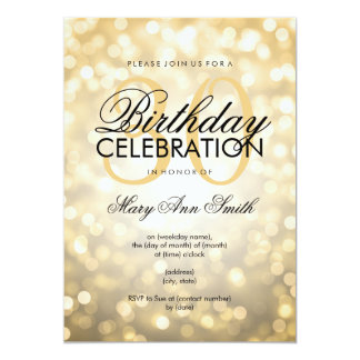 Elegant 30th Birthday Party Gold Glitter Lights Card