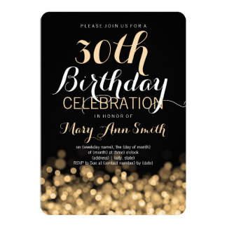 Elegant 30th Birthday Party Gold Lights Card