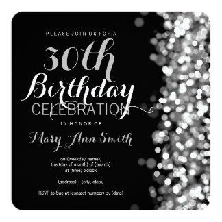 Elegant 30th Birthday Party Silver Lights 13 Cm X 13 Cm Square Invitation Card