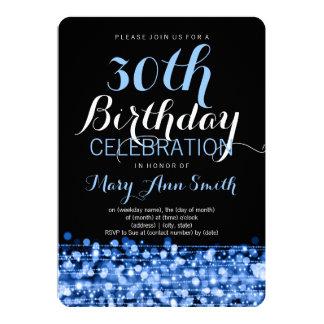 Elegant 30th Birthday Party Sparkles Blue 13 Cm X 18 Cm Invitation Card