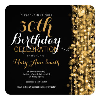 Elegant 30th Birthday Party Sparkles Gold 13 Cm X 13 Cm Square Invitation Card