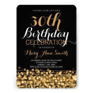 Elegant 30th Birthday Party Sparkles Gold Invitations