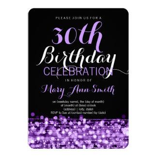 Elegant 30th Birthday Party Sparkles Purple 13 Cm X 18 Cm Invitation Card