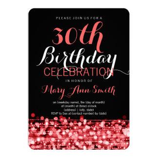 Elegant 30th Birthday Party Sparkles Red 13 Cm X 18 Cm Invitation Card
