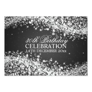 Elegant 30th Birthday Party Sparkling Wave Black 13 Cm X 18 Cm Invitation Card